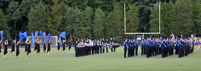 Fairfax High's marching band and color guard performing at the Virginia Showcase of Bands.