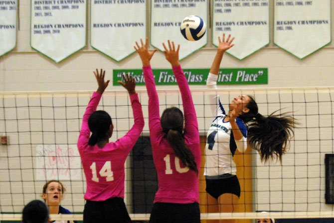 South Lakes sophomore Melody Caloyannides totaled 18 kills against Herndon on Monday.