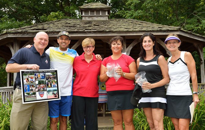 Captain Kevin Wensing (ret.), USTA, Dr. Hani Thariani, orthodontist (Tournament Presenting Sponsor), Courtney Park-Jamborsky, director, Laurel Learning Center, Mary Lee Brendsel (4.0 doubles champion), Marjie Alloy (4.0 doubles champion), Elaine Killoran, tournament co-chair at the Rally for a Cause Tournament in Reston Sept. 21-22.
