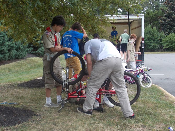 Herndon Boy Scout Troop 159 collected 87 used bikes.