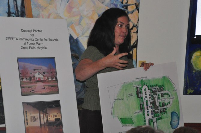 Julie Casso, executive director of the Great Falls Foundation for the Arts, speaks about their ideas for a new arts center at Turner Farm Monday, Sept. 30.