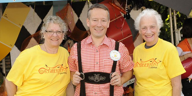 Carol Wolfand, Vienna Business Association; Greg Bernhard, 2013 Vienna Oktoberfest Burgermeister; and