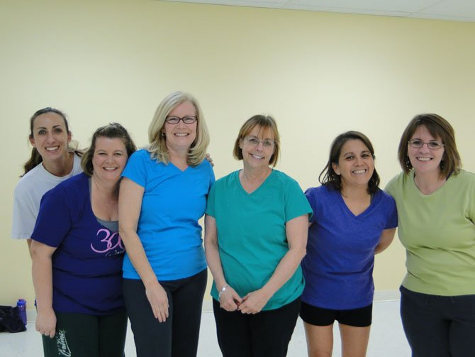 Some members of Kelly Joedicke-Lawrence's Zumba class are (from left) Evonne Spiewak, Tanya Meyers, Kathy Fritzke, Lindsey Skowronsky, Cissy Ayona and Tracy Calvert.