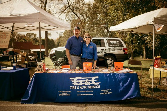 G&C Tire & Auto owners Greg and Christina Caldwell sponsor the free children's rides at Centreville Day.