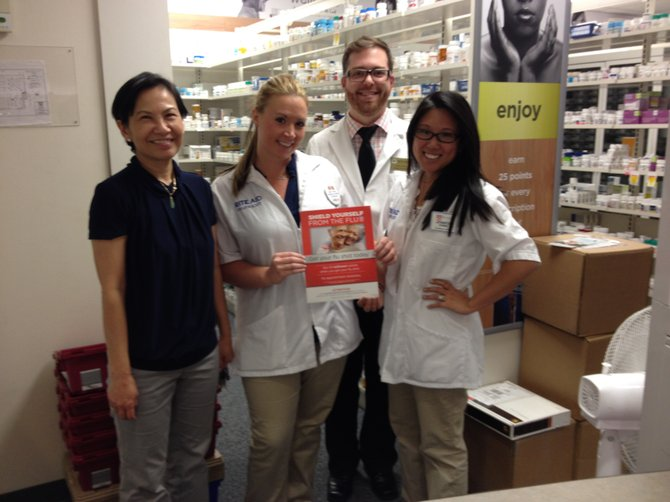 In Potomac's Rite Aid Pharmacy are, from left, Hoan Luu, RPh, Lindsay Smith, PharmD, and interns.