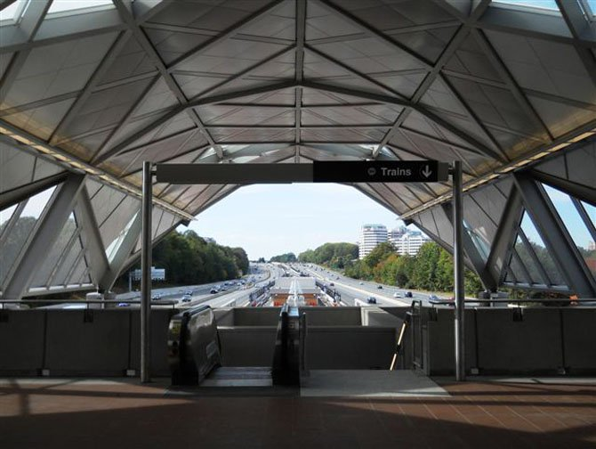 This is what passengers will see looking west from the mezzanine at the Wiehle-Reston East Metrorail Station.