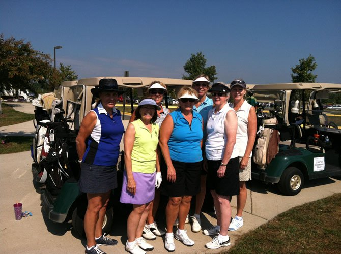 From left, Lorraine Barnhart, Susan Reber, Barbara Slaybaugh, Mary Ward, Bootsie Humenansky, Nancy Raybold and Pam Miller at the Great Falls Friends and Neighbors golf event.Not pictured areLisa Spoden and Tina Mather.