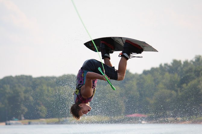 Andy Ceh of Oak Hill practices wakeboarding all summer on Kerr Lake on the North Carolina/Virginia border and competes nationally representing North Carolina, as Virginia does not have a league.