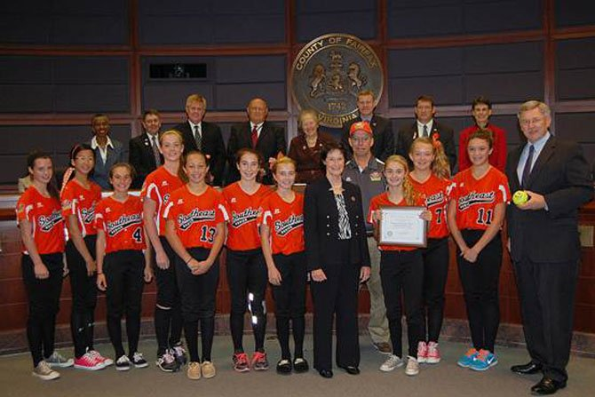Dranesville Supervisor John Foust and the Fairfax County Board of Supervisors honored the McLean Little League Majors Softball All-Stars.