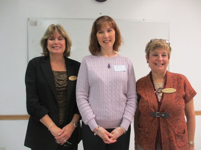 Allie Phillips [center] spoke to the Vienna Woman's Club on her initiative to promote pet-friendly domestic violence shelters throughout the U.S. With Phillips are VWC President Diane Abel [left] and Education Committee Co-Chair Jo-Lynn Westlund.