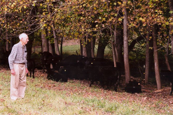 """Hello girls,"" Bob Hanson called to a herd of Black Angus cattle he raises on his 200-acre farm. He drives his John Deere ""Gator"" through the fields to check on the animals."