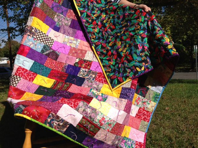 Handmade quilt to be raffled off at the MarketPlace.
