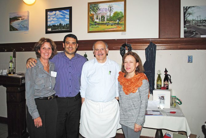 From left: Carol Caparosa, founder and executive director of Project Knitwell, Chris Mylonas, owner of Mylo's Grill, Damon Mylonas, Head Chef at Mylo's Grill, and Michelle Maynard, Project Knitwell volunteer and fundraiser organizer.