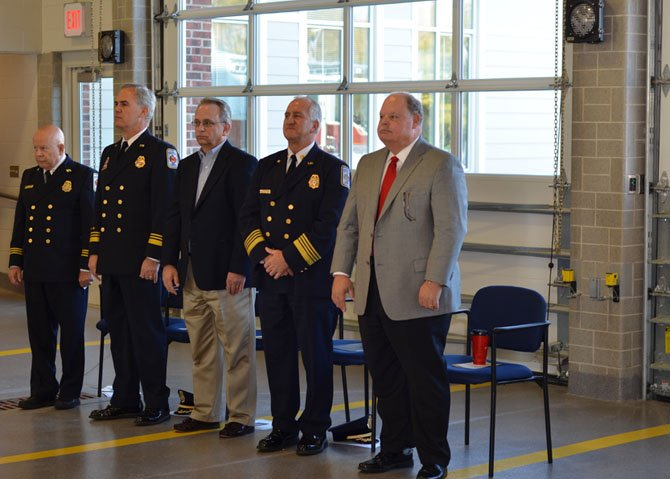 From left, Chaplain Bill Korpi, Captain John Niemiec, Ronald N. Kirpatrick, Fire Chief Richard Bowers Jr., and County Executive Edward L. Long, Jr.