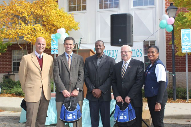 Speaking at Pathway Homes annual Help the Homeless Walk, from left: Daniel Gray, Chairman of Pathway Homes board of directors; Dean Klein, Executive Director of Fairfax County's Office to Prevent and End Homelessness; Roger Brown, Pathways consumer and Navy veteran; U.S. Rep. Gerry Connolly (D-11); Dr. Sylisa Lambert-Woodard, President and CEO of Pathway Homes.