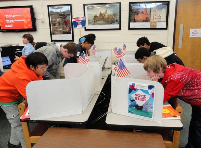 Students voting in Rocky Run's mock election.