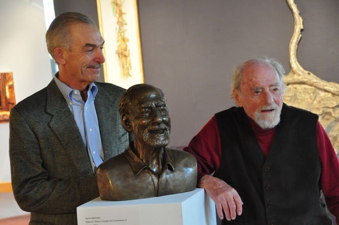 Sculptor David Adamusko with his latest subject, Reston founder Robert Simon. The bust of Simon will be auctioned off to support Cornerstones and their mission to provide affordable housing in the area.