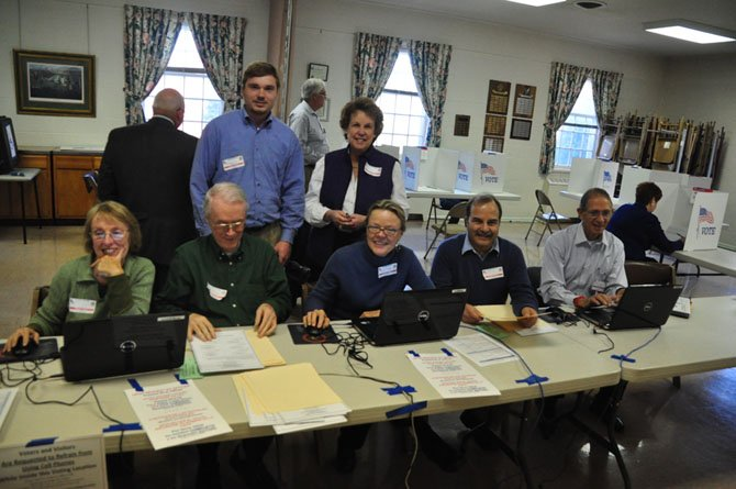 The election officers at the Great Falls United Methodist Church, which is the polling place for the Forestville precinct Tuesday, Nov. 5.