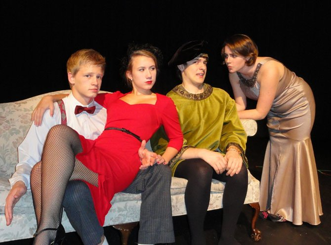 "Connor Mitchell, Nora Winsler, Josh Ewalt and Miranda Newman rehearse a scene from ""Lend Me a Tenor."""