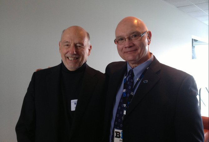 CDaniel Clemente, Rector of George Mason University (left) with Penn State Athletic Director David Joyner at Beaver Stadium.
