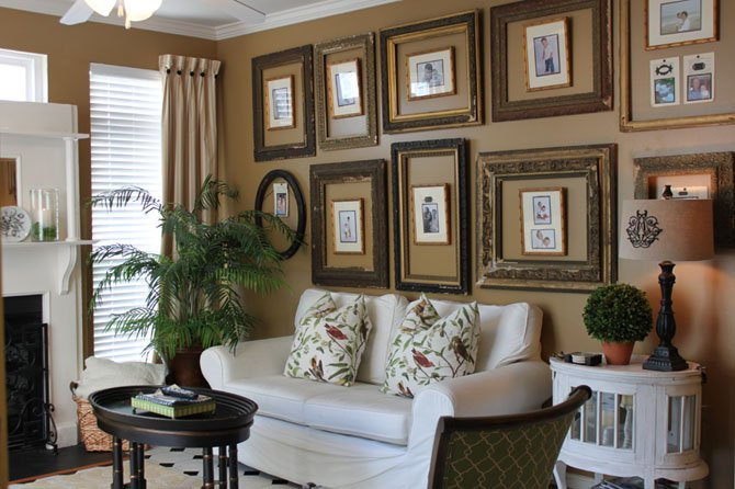 "Sallie Kjos of GreyHunt Interiors in Chantilly suggests grouping smaller pieces of art. ""Go for a collage of different items or artwork,"" she said."