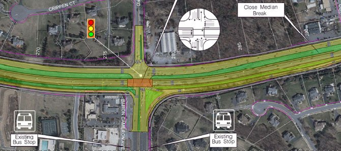 The intersection of Route 7 and Baron Cameron Avenue will have an eastbound flyover addition with the upcoming widening of Route 7.