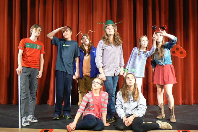 The Langley School students in rehearsal for 'James and the Giant Peach' show.