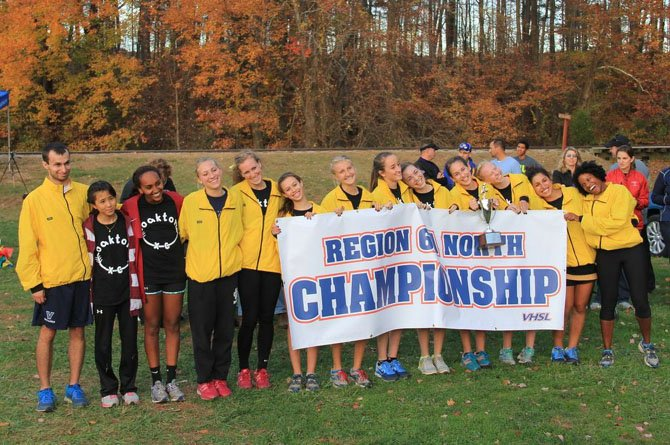 The Oakton girls' cross country team won the 6A North region championship on Nov. 6.