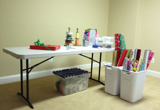 When it's time to wrap presents, Susan Unger of ClutterSOS suggests creating a wrapping station so all supplies are visible and easily accessible.