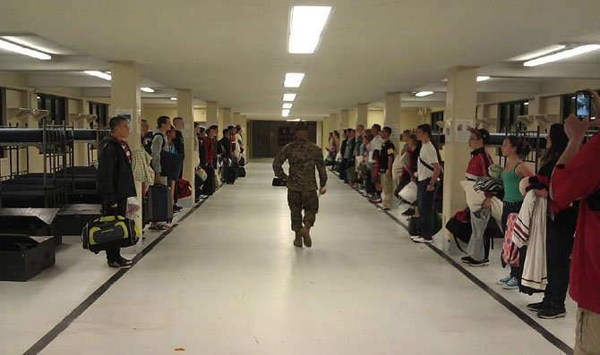 Students in the Herndon High Schools Naval Junior ROTC await inspection during a trip to Parris Island, S.C.