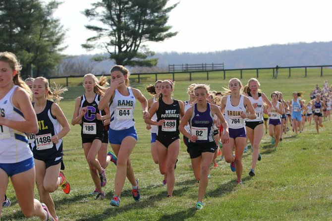 West Potomac senior Katie Genuario (1499) earned all-state honors at the VHSL state cross country meet, placing 11th in the 6A girls' race on Nov. 15 at Great Meadow.