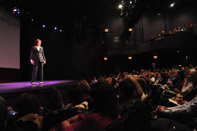 Dr. Madeline Levine, a psychologist and bestselling author, speaks to a packed house at the Alden Theatre Tuesday, Nov. 19.
