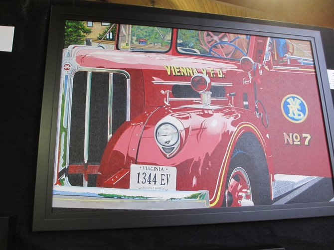The Vienna Volunteer Fire Department's antique fire truck was the subject of Vienna Arts Society artist-of-the-year Debi Elliott's painting.