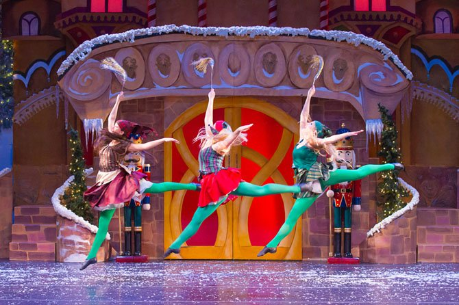 Three of Encore's dancing elves are (from left) Alia Artieda, Audra Avery and Renee Greise.