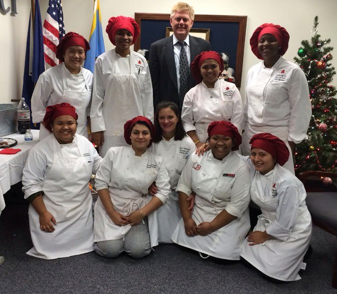 Top row, from left: Julie Nguyen, Alexis Kyler, John Cook, Paola Banzuelo, Kaylynn Campion. Bottom row, from left: Phoebe Banzuelo, Aislinn Chavez-Suazo, Chef Christine Gloninger, Patricia Banzuelo and Shulamy Figueroa.