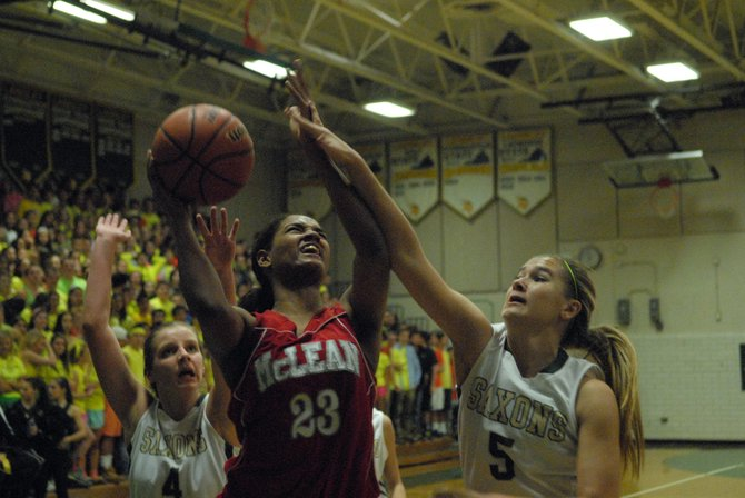 McLean senior Maia Lee finished with 12 points and 11 rebounds against Langley on Friday night.