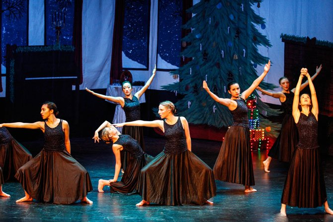 "A dramatic interpretation of the Mannheim Steamroller version of the song ""Carol of the Bells"" is part of Act II of Christmas Eve at the Nutcracker Club. From left: Alex Grieco, Lauren Megrue, Karsyn Lawler, Mary Hagen Grow, Dylan Murphy, Lisa Medici, Page Tofil."