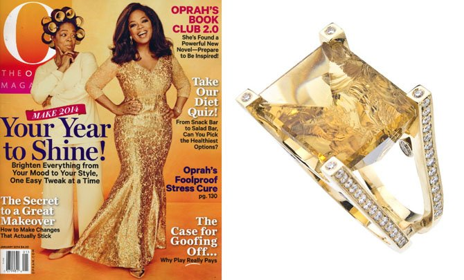 The cover of the January 2014 issue of O, The Oprah Magazine, features a Jorge Adeler one-of-a-kind 'Rock Candy' ring.