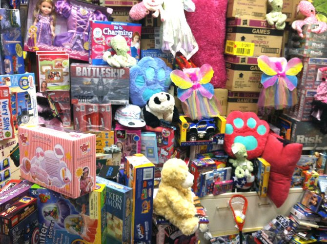 Last year: A typical collection of donated toys.
