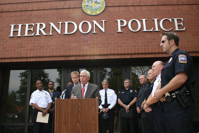 U.S Rep. Frank R. Wolf speaks at the Herndon Police Department about gang violence in 2007. Wolf led efforts to secure funds for the Northern Virginia Regional Gang Task Force created in 2003.