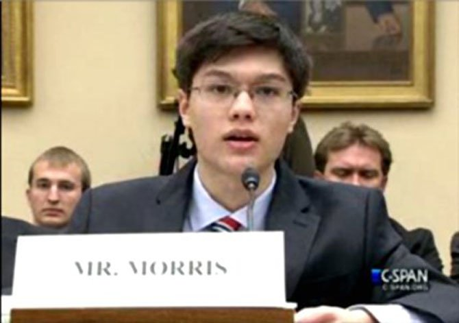 Brian Morris, CEO of Chantilly Robotics Team 612, testifying before the U.S. House Subcommittee on Research and Technology.