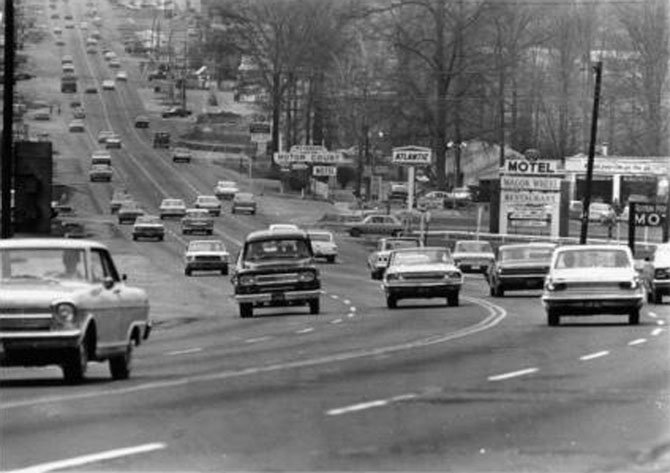 Richmond Highway, pictured here in the 1960s, was booming during this time. According to Kelleher, the executive director of SFDC, the area will soon make a come-back.