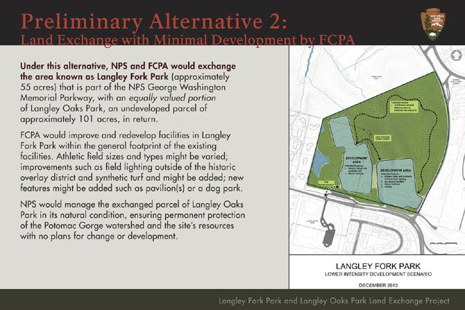 While Alternative 1 includes no development or exchange of land, Alternative 2 provides for minimal additions to Langley Fork Park by Fairfax County Park Authority.