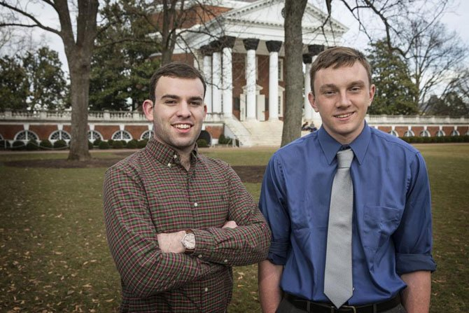 Jarrod Nagurka, of Arlington, and Patrick MacDonnell, both students at the University of Virginia, drafted mental health legislation.