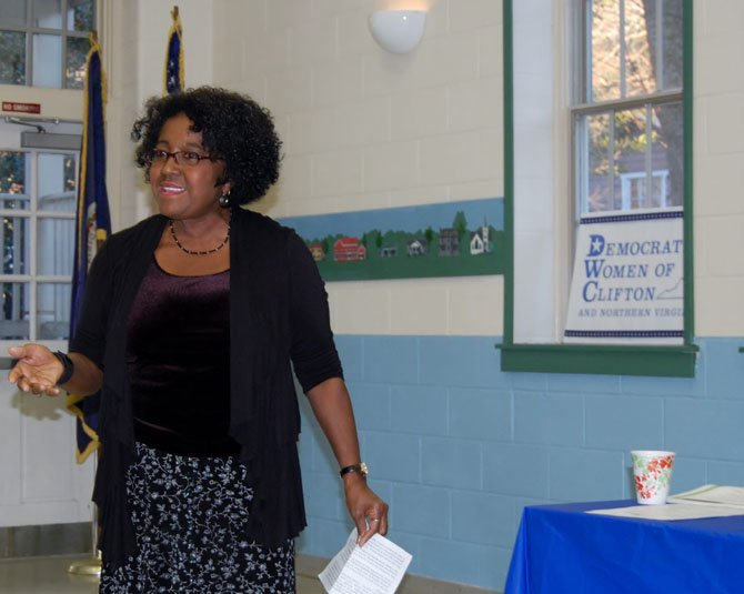 Beverly Howard, the coordinator of Fairfax Families4Kids, speaks to members of the Democratic Women of Clifton regarding mentoring opportunities for foster children in Fairfax County.