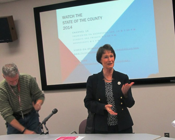 Fairfax County Board of Supervisors Chairman Sharon Bulova hosted a media screening of her annual State of the County address on Wednesday, Jan. 15.  Residents can view the address on Channel 16 from 7:30 to 8 p.m., or on YouTube at http://youtube/YzeaC3K-wiY