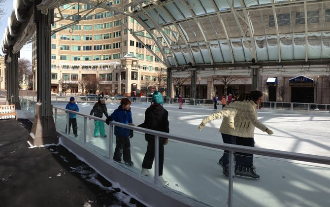 Despite the cold weather, families emerged from indoors for an afternoon of fun at the Reston Ice Rink.