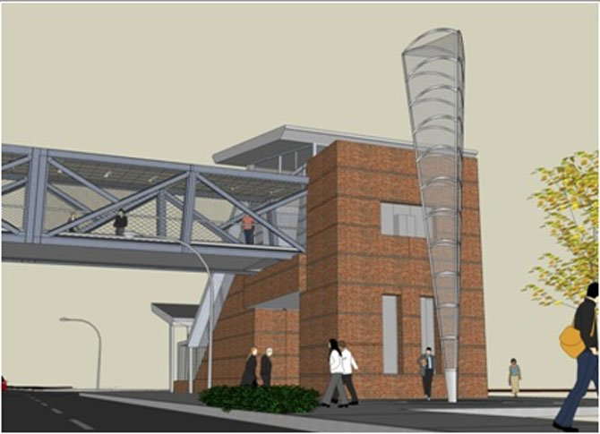 Barbara Grygutis' proposed 39-foot tall light-integrative glass and metal structure to stand outside of the Spring Hill Station.