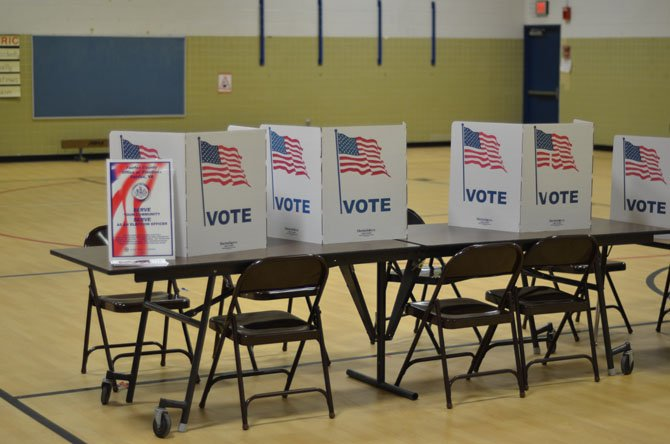 Polling booths were set up at Herndon Elementary School for the 33rd District Election. Fairfax County school classes were cancelled due to a snowfall.