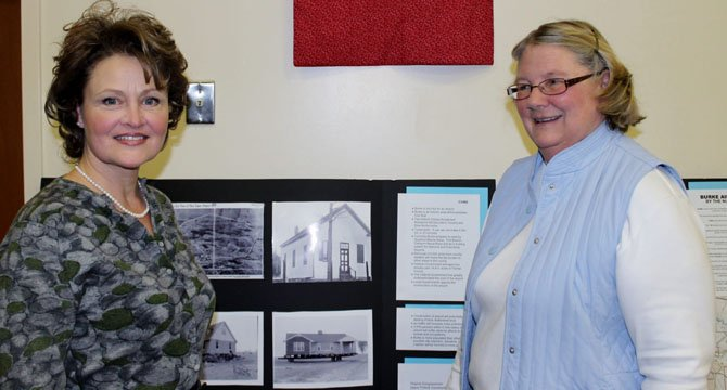 Christine Zinser and Mary Lipsey of the Burke Historical Society presented the background to many Burke residents' opposition to an airport in the community in the 1950s.